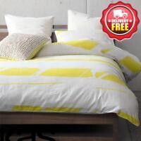 KAS Broken Stripe Yellow King size Cotton Sateen Quilt/Doona/Duvet Cover Set