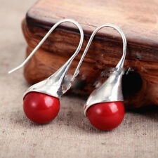 Fashion Women's Natural Red Coral 925 Sterling Silver Hook Dangle Earrings