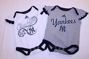 Infant/Baby Girls New York Yankees 0/3 Months Lot of 2 Creeper One-Piece Adidas
