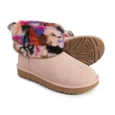 New Ugg Motlee Mini Quilted Fluff Boots Pink Black Graffiti Suede Sheepskin 7