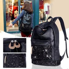 Women Leather School Backpack Sequins Handbag Travel Rucksack Shoulder Book Bag