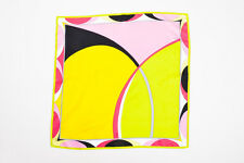 Emilio Pucci Pink Green Yellow Multicolor Printed Scarf