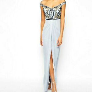 Virgos Lounge Greta Embellished Maxi Dress Party Occasion Long Gown 10 38