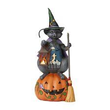 "Enesco Jim Shore Cat on Pumpkin Lantern with Light 6005917 Halloween Perfect 21"""