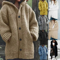 Women's Winter Hooded Knit Sweater Cardigan Coat Long Sleeve Outwear Jacket HOT