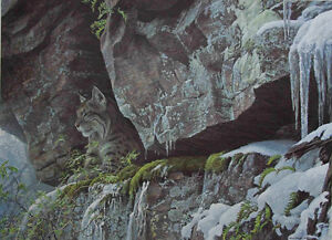 Robert Bateman At The Cliff - Bobcat Signed & Numbered Print