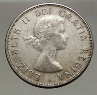 1958 CANADA under Queen Elizabeth II SILVER 50 Cents Canadian Coin Arms i56633