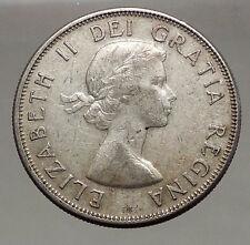 1958 CANADA under Queen Elizabeth II SILVER 50 Cents Canadian Coin Arms i56633