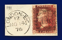 1876 SG43 1d Red Plate 191 G1 AF London NO 14 76 Good Used ctsg