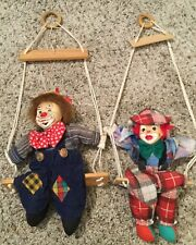 Shalom Toy company Vintage Clowns Marionette Doll Swinging Clowns Circus Hanging