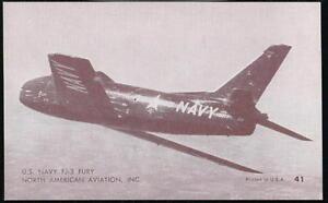 US NAVY FJ-3 FURY North American Aircraft Vintage Penny Arcade Exhibit Card #41