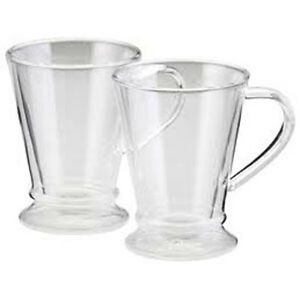BonJour Double Wall Thermo Glass Mugs 10 oz. w/Handle (Set of 2)
