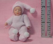 Dollhouse Miniature Baby Doll in Pink Outfit White Pom Poms Porcelain  1:12