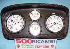 FIAT 500 F/L/R CRUSCOTTO MOD.R SPORTIVO PELLE PLANCIA 4 STRUMENTI ABARTH BIANCHI