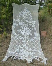 ANTIQUE FRENCH  LARGE FILET LACE CURTAIN