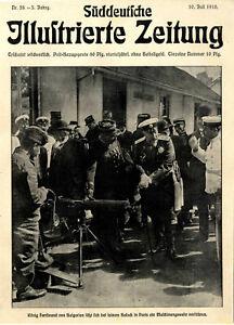 König von Bulgarien bei Maschinengewehrvorführung in Paris Titelblatt 10.7.1910