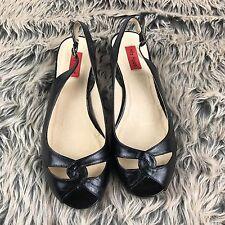 MIZ MOOZ Takk Black Wedge Slingback Sandal Women's Sz 7.5 Low Heel Career