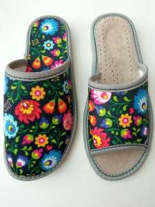 Womens Ladies  Slippers Blue Red Pink Yellow Flowers Mules Sandals