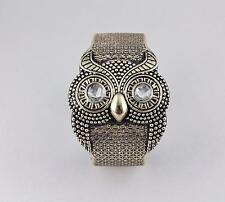 Gold owl bracelet carved textured hoot OWL bird plastic hinged bangle cuff