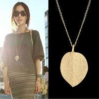 Damen XL Halskette Anhänger Blatt goldfarben Kette Mode Schmuck 73 cm Neu
