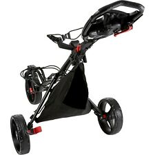 New Black Premium Tour Trek 360 3-Wheel Golf Push Cart W/ Bag Oversize Wheels