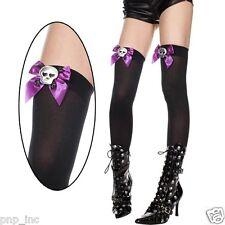 Black Thigh Highs Hi Stockings Bow Skull & Crossbones Halloween Pirate Costume