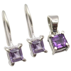 Square Stone Sterling Silver Jewelry Set Real Purple AMETHYST Earrings Pendant