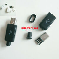 Mini USB Male 5 Pin 4-Piece Lot Solder Socket Connector Plug Black Cover