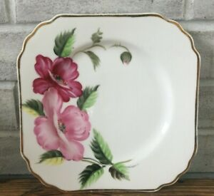 "Vintage Merit 8"" Square Plate Handpainted Pink Roses Gold Trim Occupied Japan"