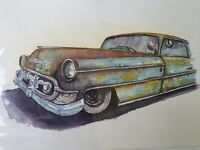 Large ORIGINAL new signed watercolour ART PAINTING of Rusted American Chevy Car
