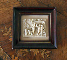 Charming miniature carved in a calcareous concretion, decor of shepherds & sheep