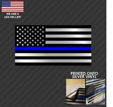 SILVER Police Thin Blue Line Blue Lives Matter American Flag decal sticker BLM