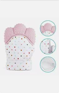 Guanti in silicone da dentizione 2 pezzi neonata bambina rosa BPA free nuovi