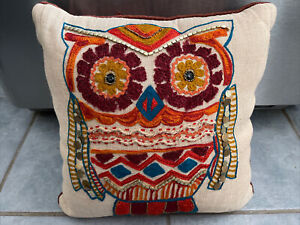 Pier1 Owl decorative Throw Pillow With Beads And Sequins