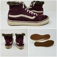 Vans Sk8-Hi MTE Faux Fur Tan Liner Purple Suede Skate Shoes Boots Womens Size 8
