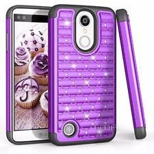 LG K4 2017 Rhinestone Bling Rubber Armor Glossy Impact Hybrid Hard Case - Purple