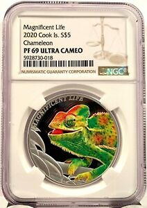2020 Cook Islands Magnificent Life Chameleon 1 oz Silver Proof Coin - NGC PF 69