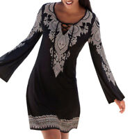 Women Casual Boho Floral Printed Long Sleeve Short Mini Beach Dress Sundress