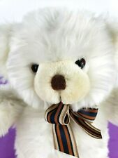 Harrods Knightsbridge Teddy Bear White Plush Striped Bow