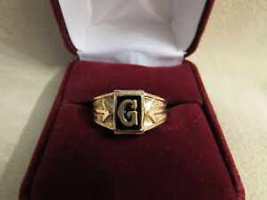 """Initial """"G"""" Yellow Gold Filled Small Finger/Boys Ring W/Onyx Stone"""