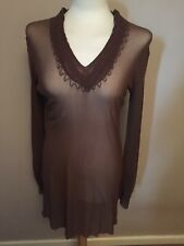 Per Una Brown / Embroidered Neck & Cuff / Beach Cover Up  - Size Medium - BNWT