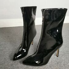 Women High Heels Stilettos PU Mid-calf Boots Sexy Punk Evening Nightclub Shoes