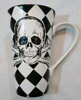 """Coventry Skulls Harlequin Check Porcelaine Latte Tall Coffee Mug Cup 6 1/4"""""""