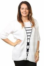 Ladies Womens Striped Twinset Knitted Cardigans Sweaters Jumpers Tops Plus Sizes UK Size 20/22 White/ Black Stripe 95 Acrylic & 5 Elastane