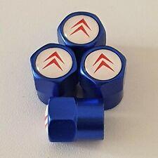 CITROEN Blue Metal Valve Dust Caps for all models C1 C2 C3 C4 BELINGO DS4 DS5 DS