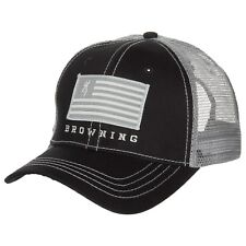 BROWNING Buck logo Patriot Trucker Hat Baseball Cap Logo Flag Patch Black / Gray