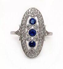 14k White Gold 1.50 TCW Blue Sapphire and Diamond Art Deco Ring VS2, G