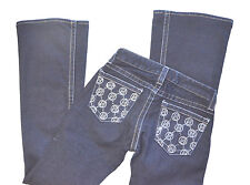 Bebe jeans low rise dark wash bling/rhinestone booty bootcut sz 25 pristine!