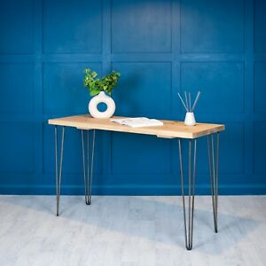 Desk Industrial Wood Planed [With Hairpin Legs] Office - Small