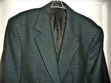M&S DARK KINGFISHER GREEN SMALL CHECK JACKET SIZE MEDIUM  100% PURE NEW WOOL